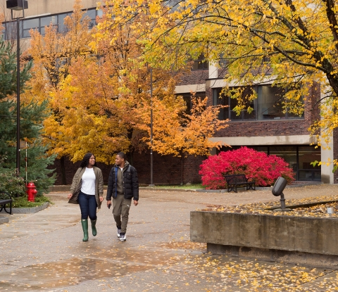 Fall campus quad with two students